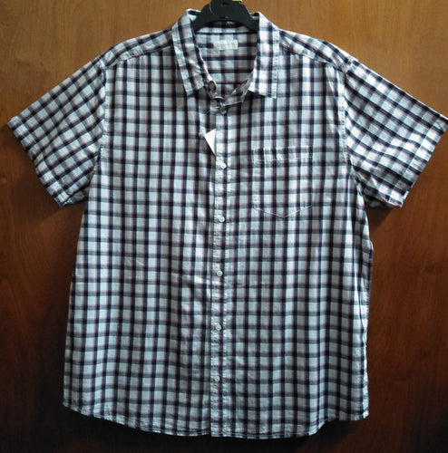 Black, White and Red Checked Short Sleeve Button Up Plus Size Shirt