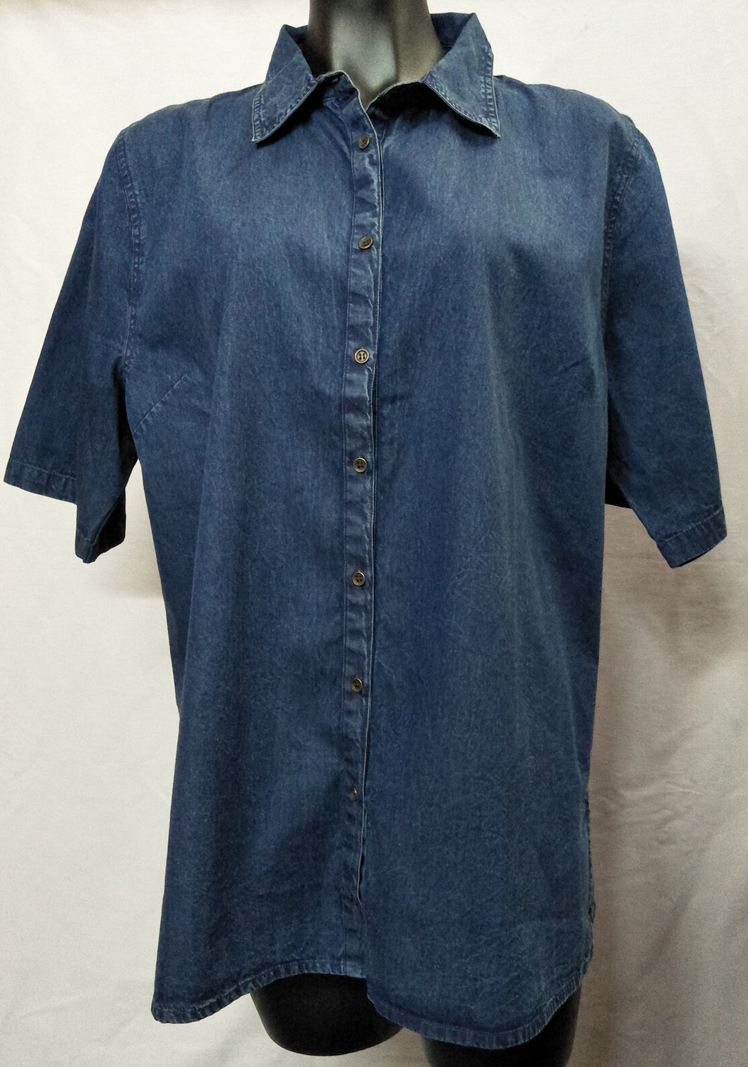 Dark Blue Denim Look Button Up Collared Shirt