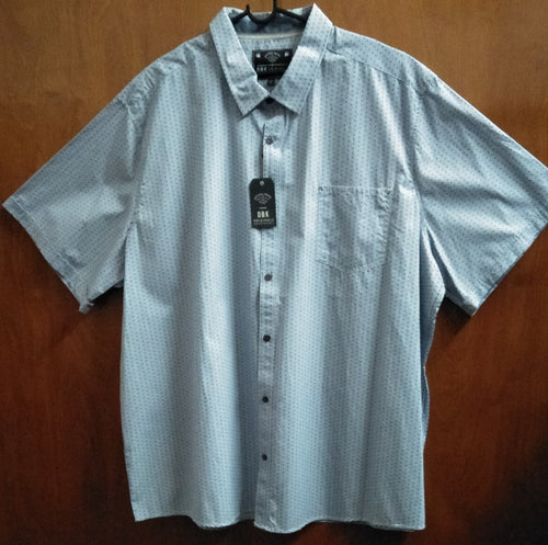 Sky Blue Plus Size Patterned Button Sup Shirt