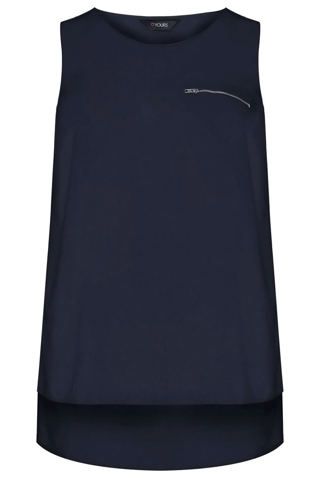 Navy Sleeveless Dipped Hem Top With Zip Pocket Detail
