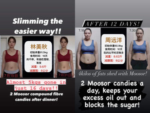 Slimming is now easier with Moosor Compound Fibre Tablet Candy. No diet and exercise required.