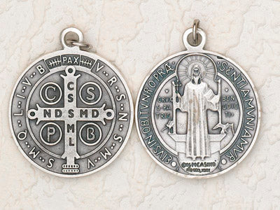 2-1/2 Inch St Benedict Pendant - Silver
