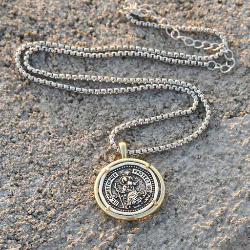St. Christopher Vintage Medal Necklace or Keychain