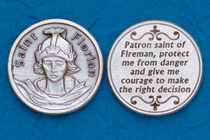 Pocket Prayer Token with St Florian with Prayer
