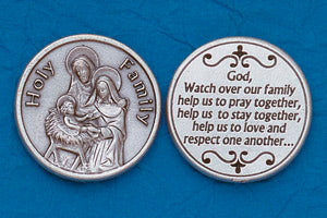 Pocket Prayer Token with Holy Family with Prayer