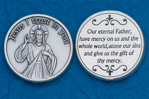 Pocket Prayer Token with Divine Mercy Coin with Prayer