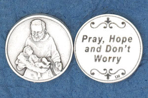Pocket Prayer Token with Padre Pio - Pray, Hope, and Don't Worry