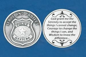 Religious Coin Token Policeman's Serenity Prayer Serve and Protect