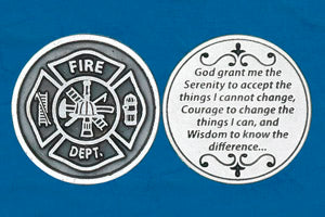 Pocket Prayer Token with Fireman's Serenity Prayer - Fireman's Insignia on Front
