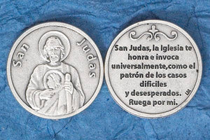 Silver Plated Prayer Token Spanish San Judas