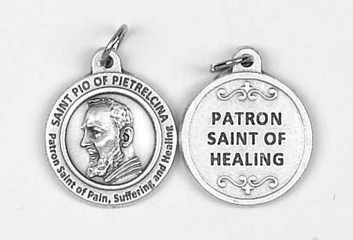 3/4 inch Saint Pio Pendant - Patron Saint of Pain, Suffering and Healing
