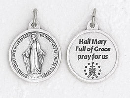 3/4 inch Silver Plated Miraculous Medal with Prayer on back