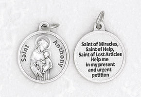 3/4 inch Silver Plated St Anthony Pendant with Prayer on back