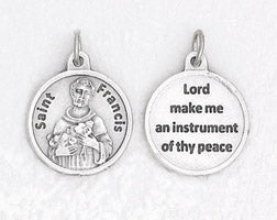 3/4 inch Silver Plated St Francis Prayer Pendant