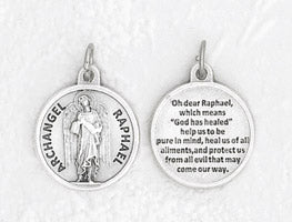 3/4 inch Silver Plated Archangel Raphael Prayer Pendant