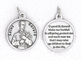 3/4 inch Silver Plated St Gerard Pendant with Prayer on back