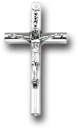 1 and 1/2 inch Metal Crucifix - Rounded