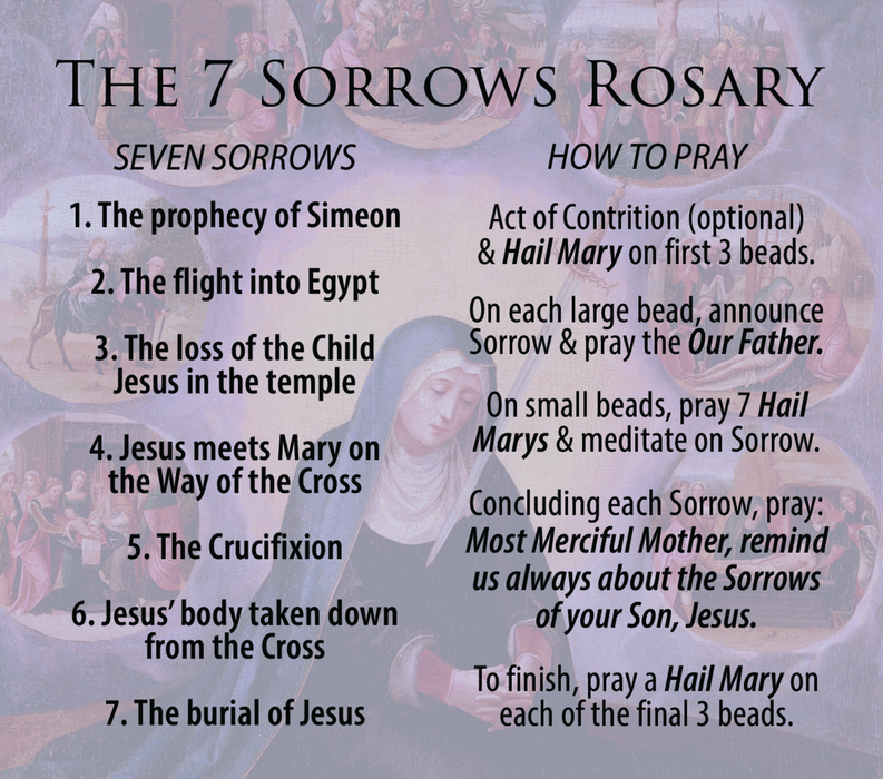 Seven Sorrows Rosary Pocket Guide - 15-Pack