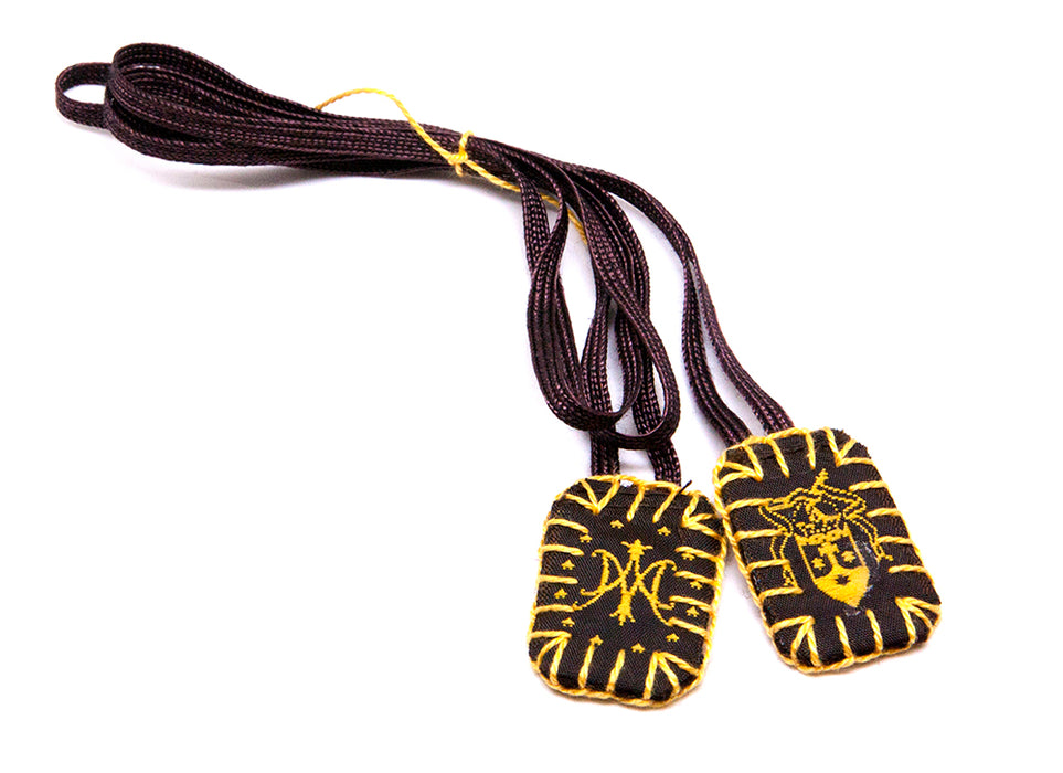 Sisters of Carmel Small Scapular with Brown Label/Gold Details
