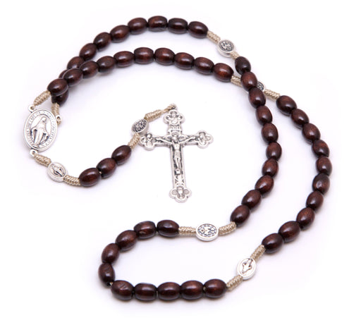 Large Miraculous Medal Wooden Rosary