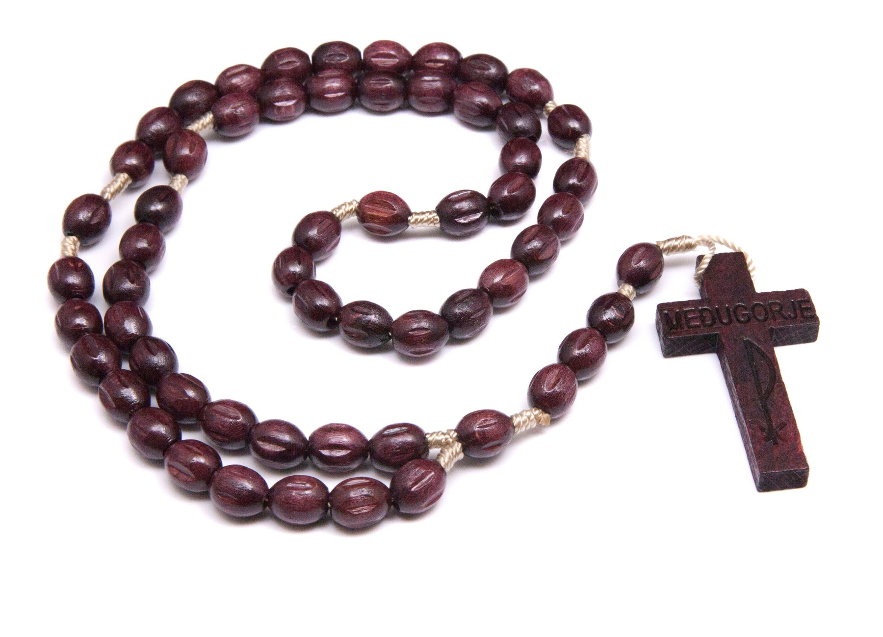 Medjugorje Wood Rosary- Cherry Brown