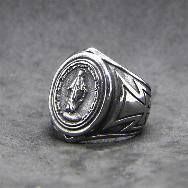 Miraculous Medal Ring For Marian-Minded Men