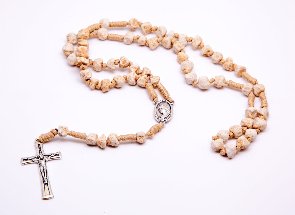 Medjugorje Stone Rosary- Tan Cord and Unpolished Stones