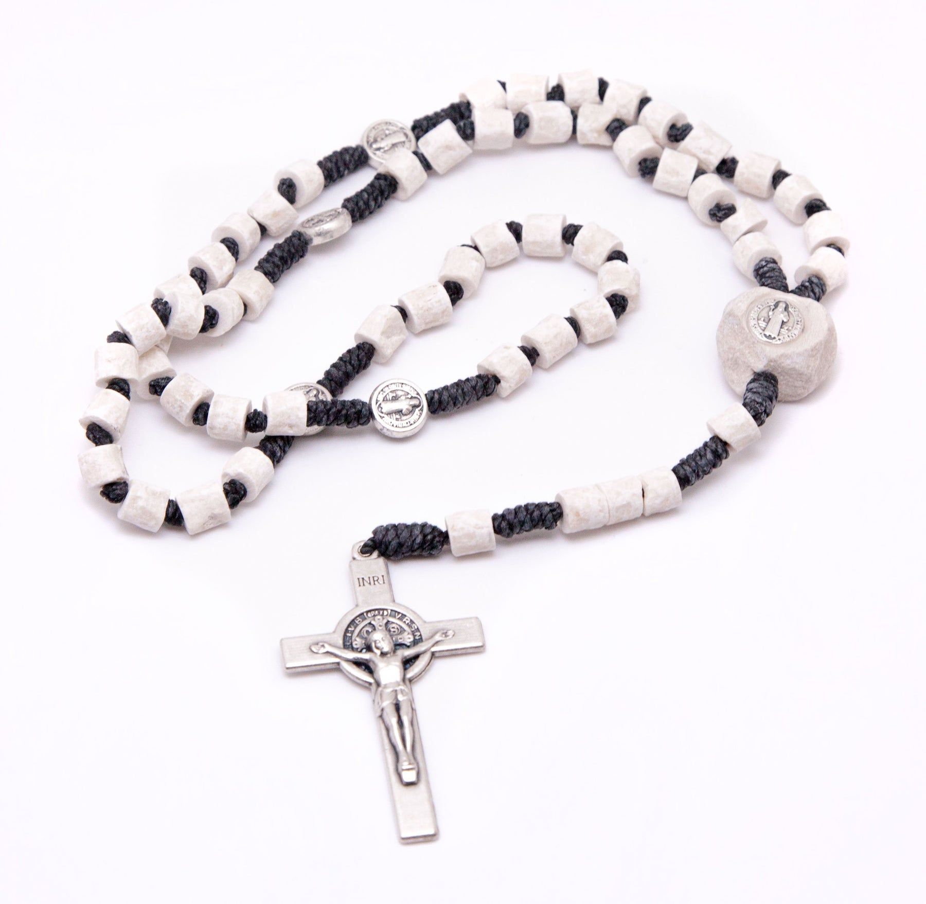 Medjugorje St. Benedict Stone Rosary - Black Cord
