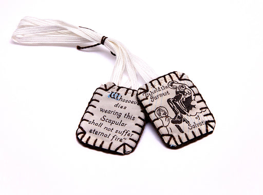 Sisters of Carmel Large Scapular with White Label and Dark Brown Edge