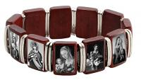 Madonna Cherry Wood Stretch Bracelet - Silver Spacers -Sepia