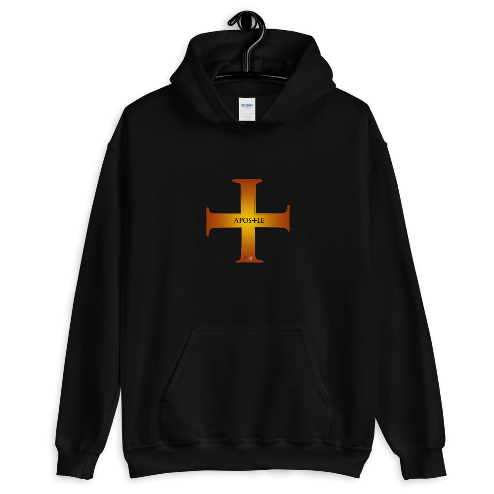 Apostle Cross Hooded Sweatshirt - Black and Burnished Gold