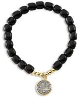 Saint Benedict Stretch Bracelet - Black Wood - Two Tone Gold Plated