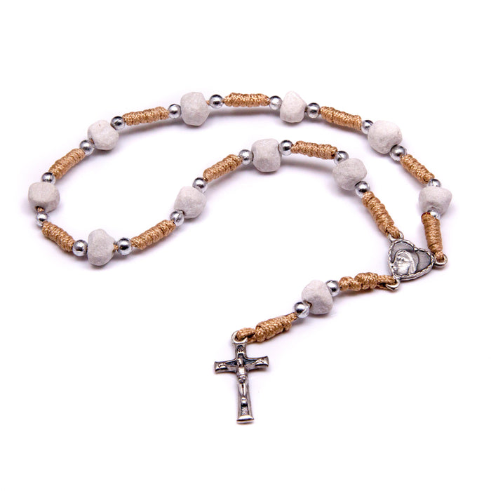 Medjugorje Stone One-Decade Rosary with Tan Cord