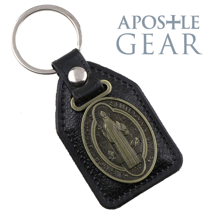 St. Benedict Leather Keychain