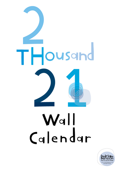 2021 Wall Calendar Blue DIGITAL DOWNLOAD