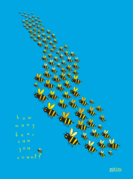 """Counting to 100 Bees Blue""                   PDF DIGITAL download"