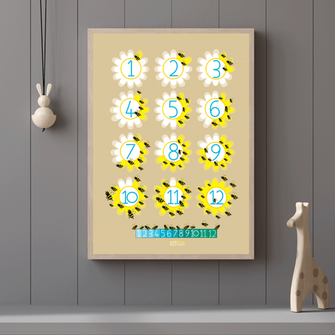 COUNTING to TWELVE BEES poster        PDF DIGITAL download