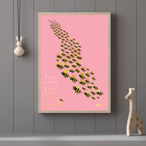 COUNTING to 101 BEES pink poster         PDF DIGITAL download