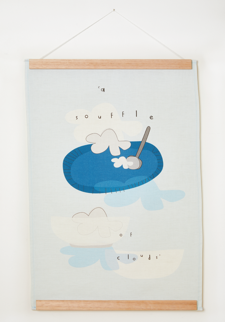 "ART wall hanging ""a souffle of clouds"""