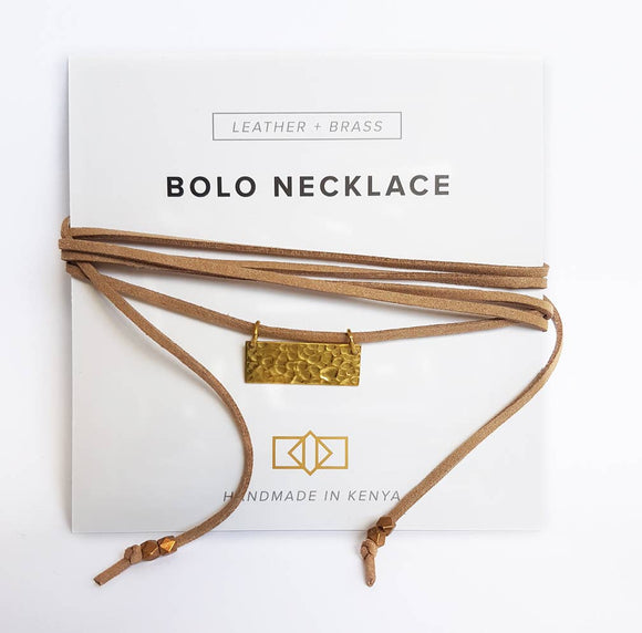 Hammered Brass Rectangle Bolo Necklace