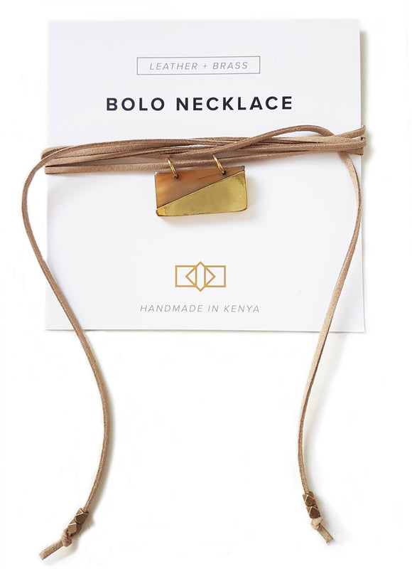 Brass + Horn Bolo Necklace