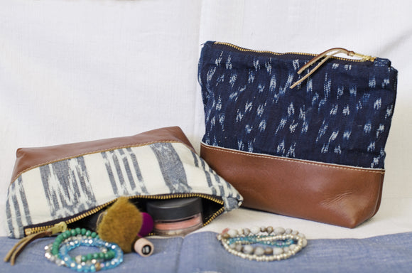 Ikat and Leather Cosmetic Bag