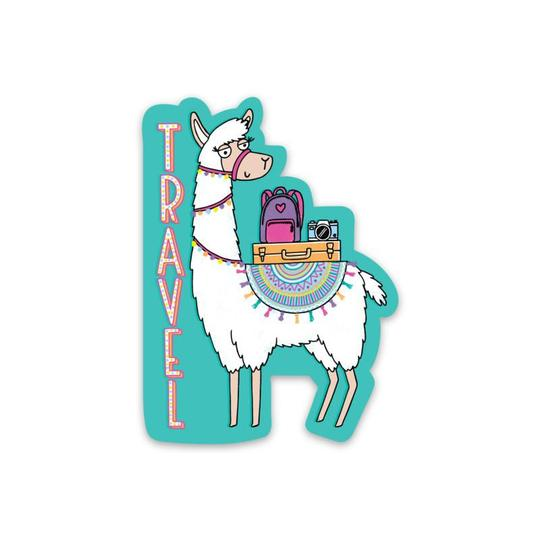 Travel Llama Sticker