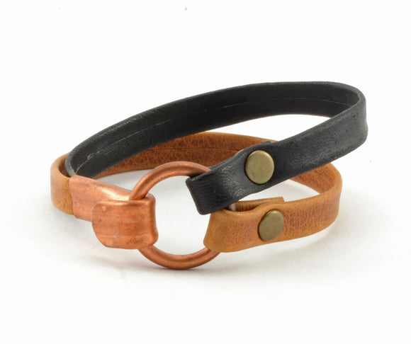 Copper Clasp Leather Bracelet