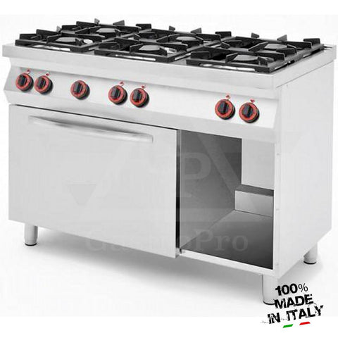 6 Burners Gas Stove with Static Gas Oven and Gas Broiler mod. CPG1276GG