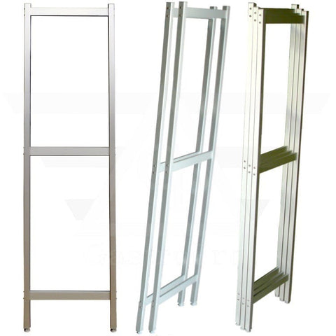 Frame uprights made of aluminium profile to hold shelves