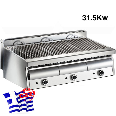 Professional Water Grill mod. Artemis-3 L121cm with 3 Gas Burners