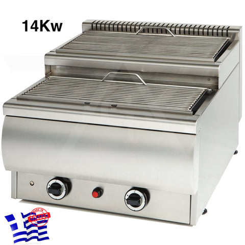 Gas Vapour Grill mod. Artemis-C2 L63cm ideal for souvlaki and satay.