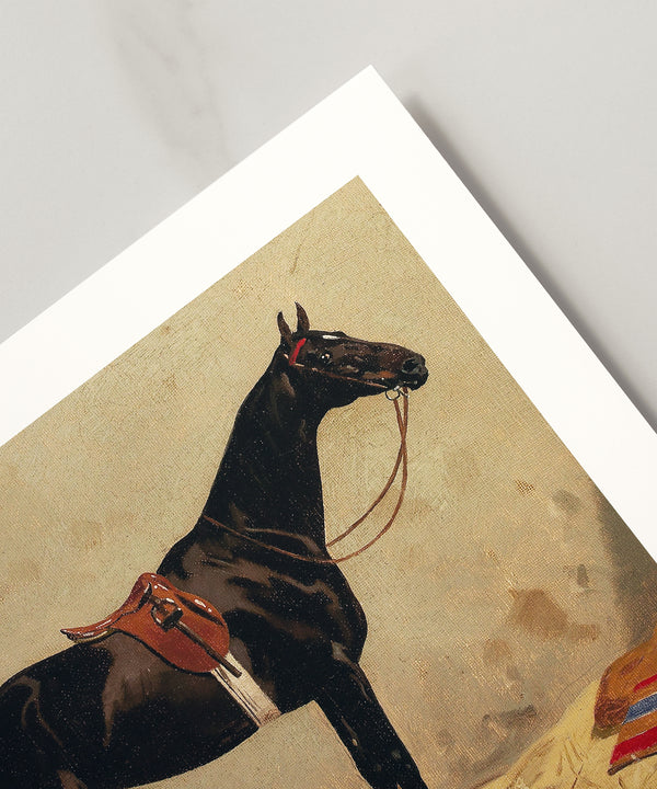 Vintage black horse portrait painting