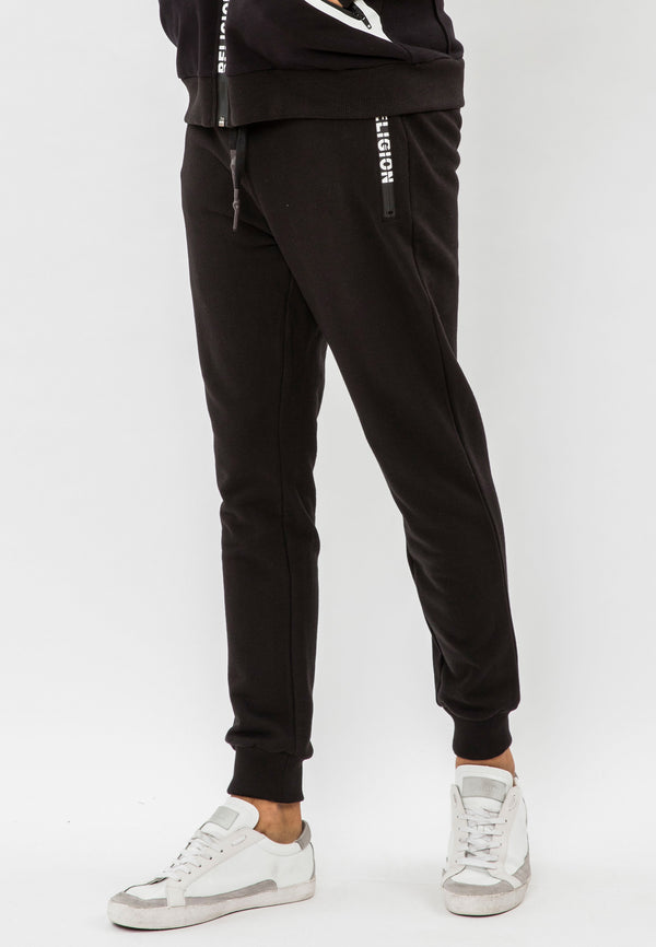 RELIGION Repeat Cotton Sweat Black Pants
